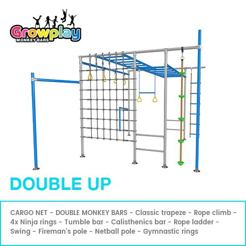 GROWPLAY Monkey Bars (Double Up)  – Original + Cargo Net + Extra Rung + FREE Perth Delivery