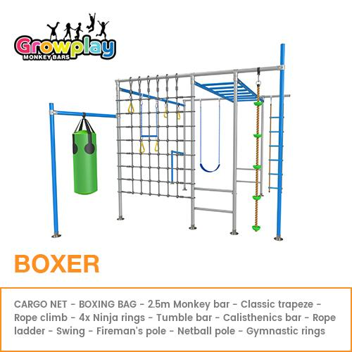 GROWPLAY Monkey Bars (The Boxer) – Original + Cargo Net + Boxing Bag + FREE Perth Delivery